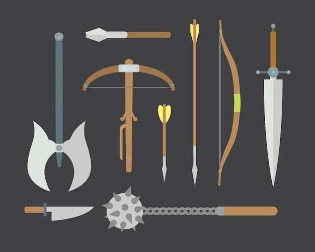 Set van verschillende middeleeuwse wapens plat