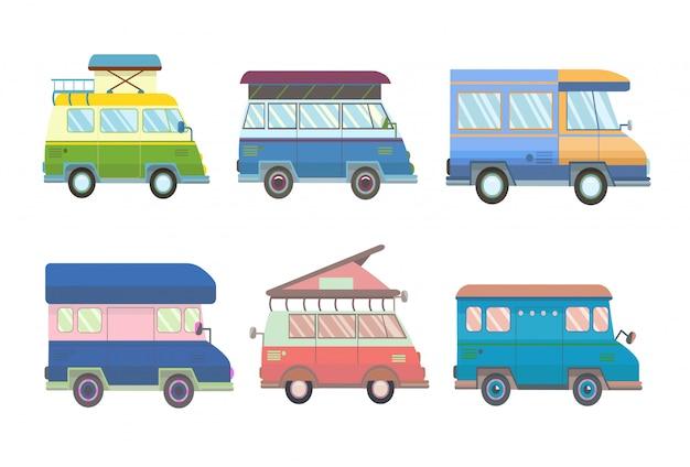 Set van verschillende minibusjes en campers in stijl. illustratie, op wit.