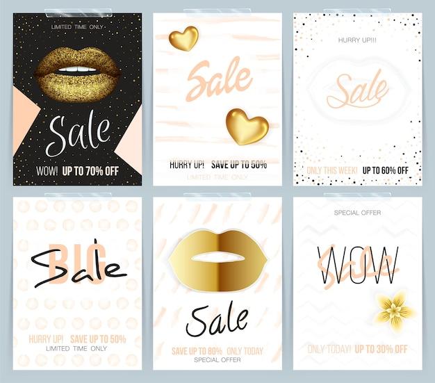 Set van verschillende mode verkoopkaart