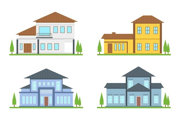 Set van verschillende moderne huizen