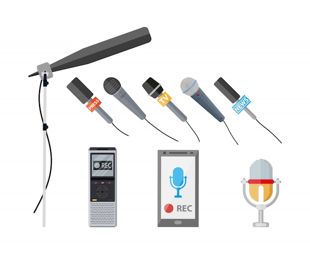 Set van verschillende moderne opnameapparaten.