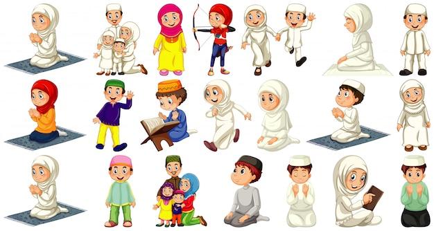 Set van verschillende moslim mensen stripfiguur geïsoleerd op een witte achtergrond Gratis Vector
