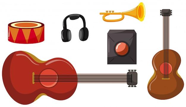 Set van verschillende muziekinstrumenten
