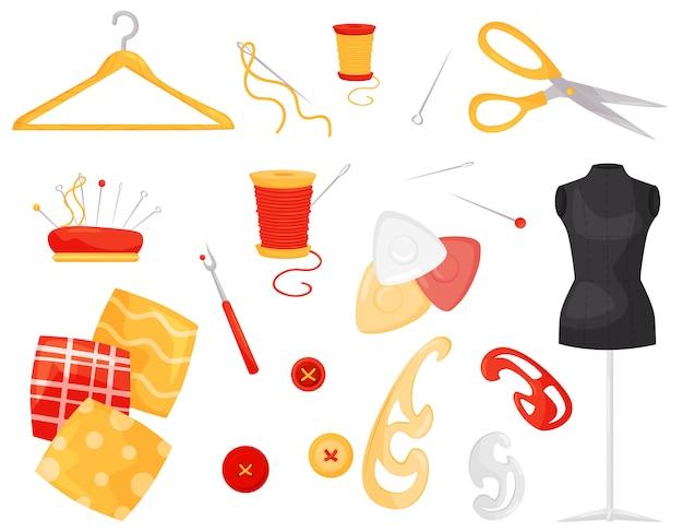 Set van verschillende naai-items. kledingaccessoires en handwerkaccessoires. het afstemmen van apparatuur en materialen