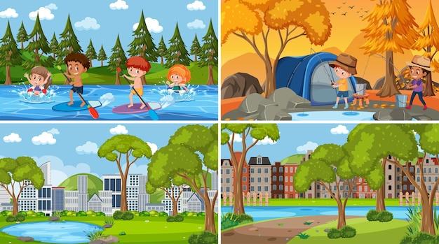 Set van verschillende natuurachtergrondscènes