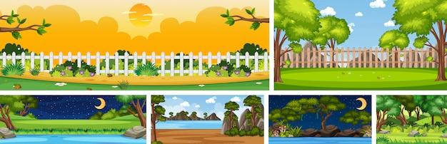 Set van verschillende natuurplaatscènes in verticale en horizonscènes overdag en 's nachts