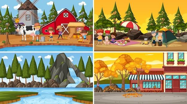 Set van verschillende natuurscènes achtergrond in cartoon-stijl