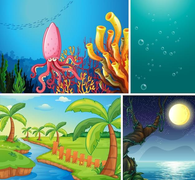 Set van verschillende natuurscènes