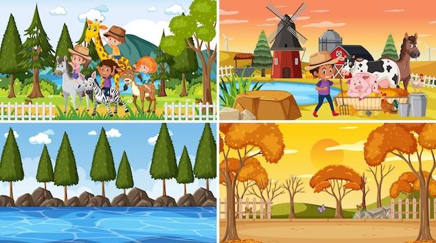 Set van verschillende natuurtaferelen achtergrond met mensen