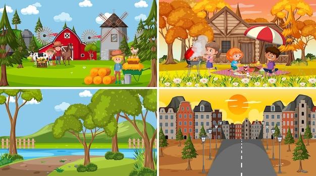Set van verschillende natuurtaferelen cartoon stijl