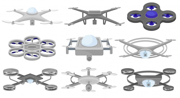 Set van verschillende. onbemande luchtvoertuigen. vliegende drones. moderne technologie