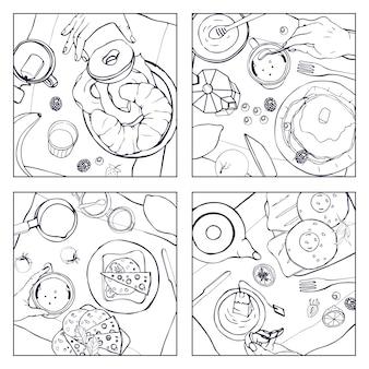 Set van verschillende ontbijt, bovenaanzicht. vierkante illustraties met lunch. gezond, fris brunchdrankje, pannenkoeken, sandwiches, eieren, croissants en fruit. zwart-wit hand getekende collectie.