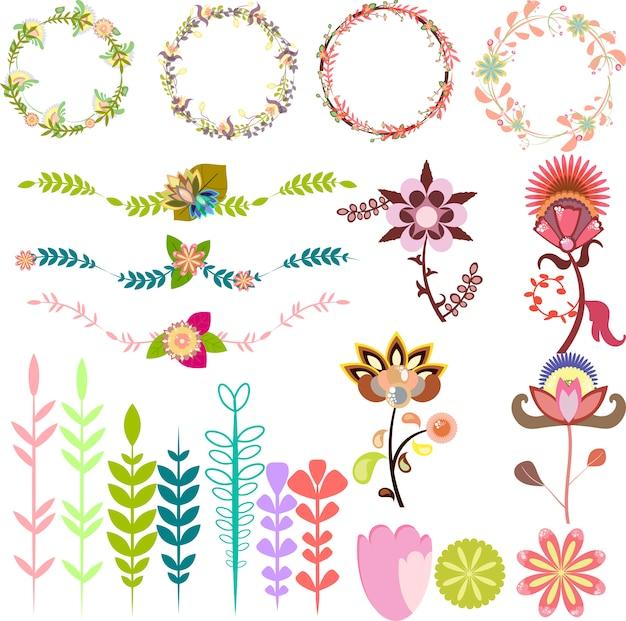 Set van verschillende ontwerpelementen, vectorborstels bladkaders decoratieve kransen