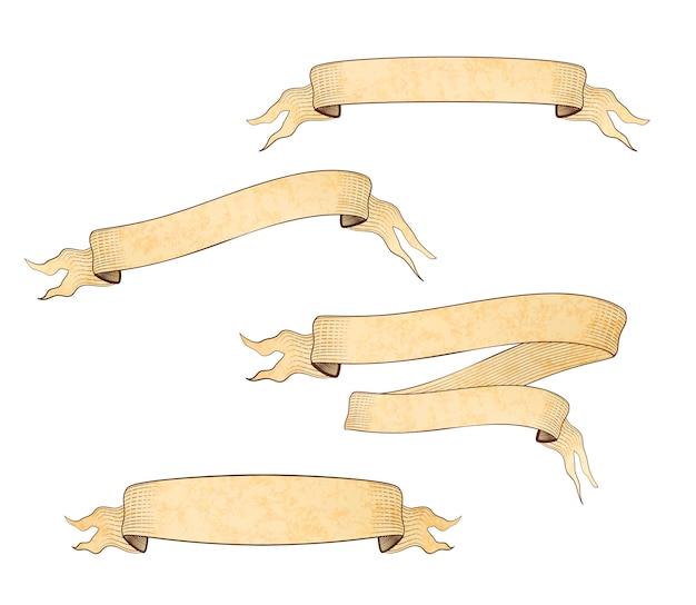Set van verschillende oude gegraveerde ponsbanden met textuur met plaats voor tekst op wit
