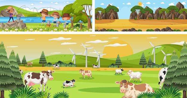 Set van verschillende panoramische landschapsscènes buiten met stripfiguur