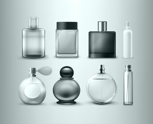 Set van verschillende parfumflesjes geïsoleerd op een grijze achtergrond