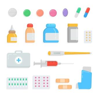 Set van verschillende pillen en drugs. inhoud ehbo-doos met medicatie, druppels, tablet, spuit, thermometer, gips, inhalator, capsule, flacon, medicijnflesverzameling.