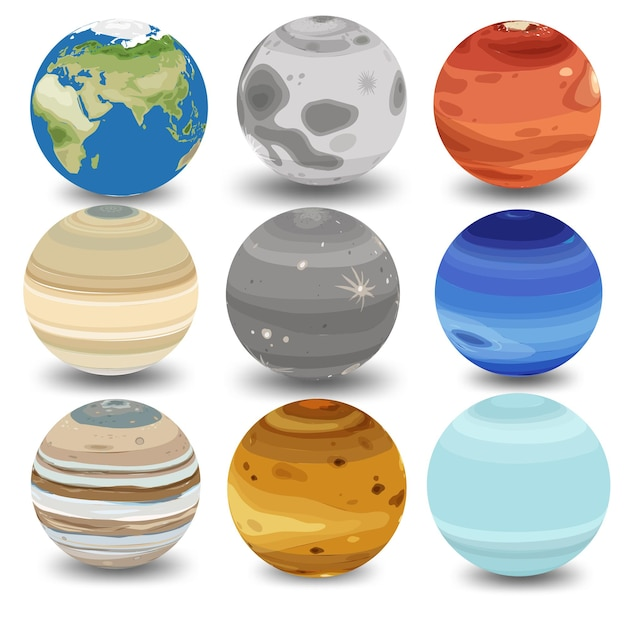 Set van verschillende planeten op wit