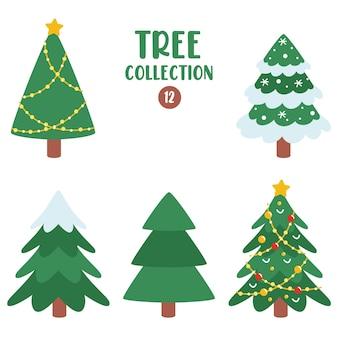 Set van verschillende platte bomen