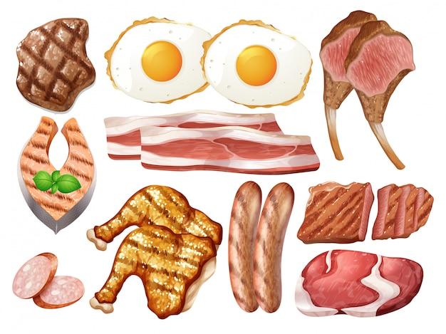 Set van verschillende pluimvee en vlees