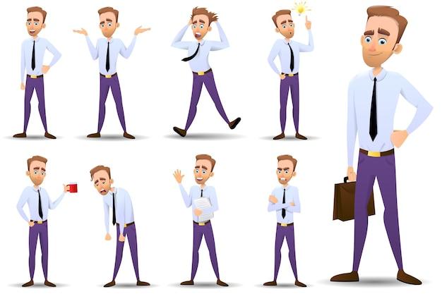 Set van verschillende poses van de karakters van een zakenman, kantoormedewerker, officemanager of ambtenaar geïsoleerd op een witte achtergrond. vector illustratie