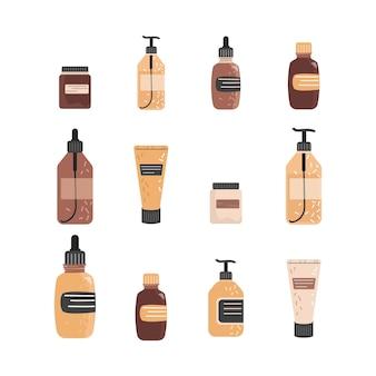 Set van verschillende potten en buizen van cosmetica