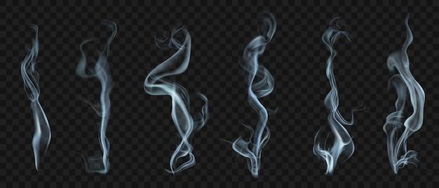 Set van verschillende realistische transparante rook of stoom in witte en grijze kleuren, voor gebruik op een donkere achtergrond. transparantie alleen in vectorformaat