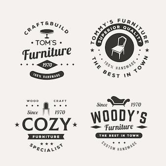 Set van verschillende retro meubels logo's