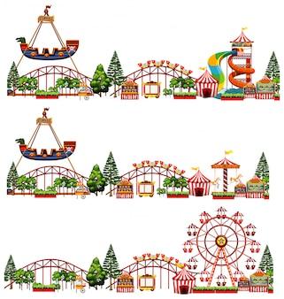 Set van verschillende ritten in het circus geïsoleerd