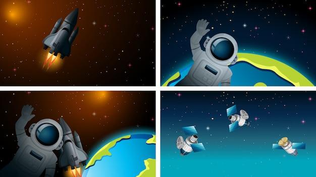 Set van verschillende ruimtescènes achtergrond