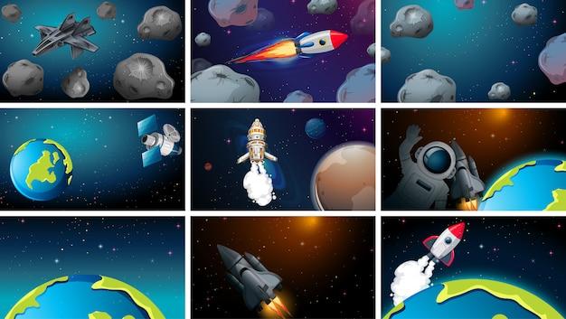 Set van verschillende ruimtescènes