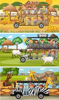 Set van verschillende safari horizontale scènes met dieren en kinderen stripfiguur