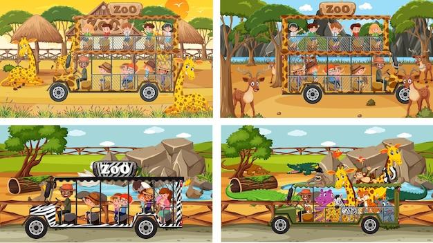 Set van verschillende safariscènes met dieren en stripfiguren voor kinderen