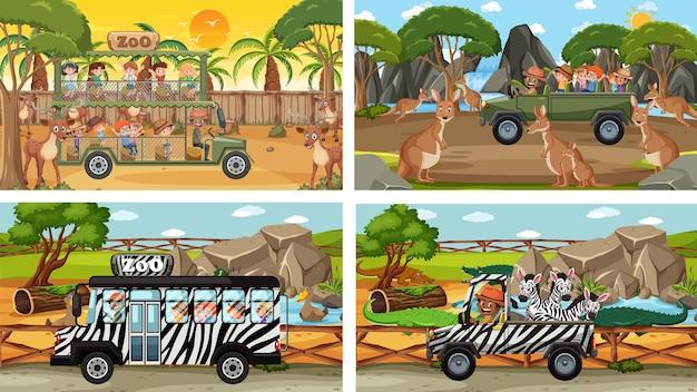 Set van verschillende safariscènes met dieren en stripfiguren voor kinderen Premium Vector