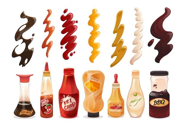 Set van verschillende sauzen in flessen en slagen