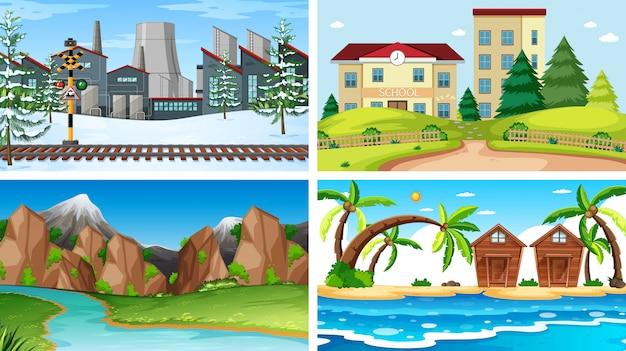 Set van verschillende scènes achtergrond