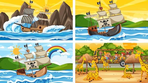 Set van verschillende scènes met piratenschip op zee en dieren in de dierentuin