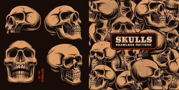 Set van verschillende schedels met naadloze patroon op donkere achtergrond.