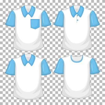 Set van verschillende shirts met blauwe mouwen geïsoleerd op transparante achtergrond