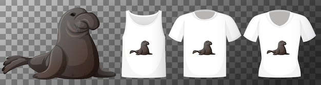 Set van verschillende shirts met manatee stripfiguur geïsoleerd op transparante achtergrond