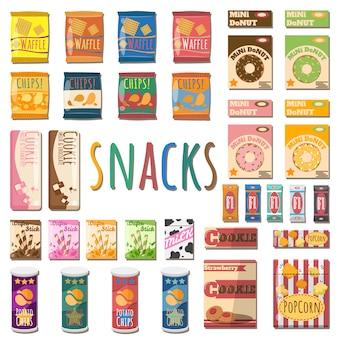 Set van verschillende snacks.
