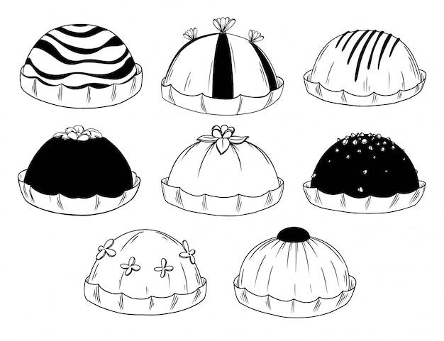 Set van verschillende snoepjes. chocoladesnoepjes, cake op witte achtergrond wordt geïsoleerd die.