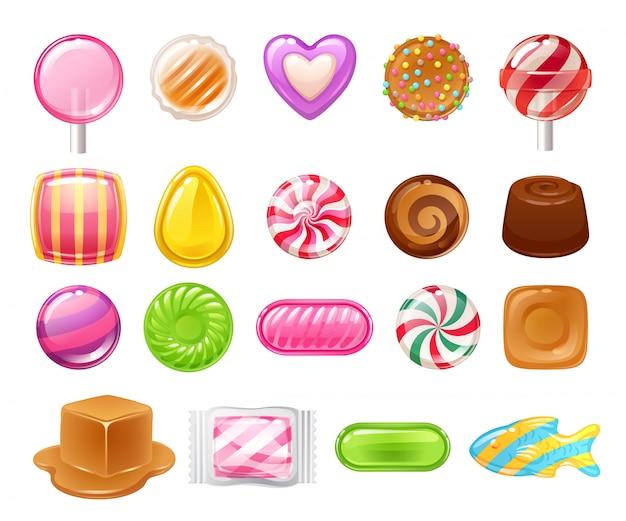 Set van verschillende snoepjes. geassorteerde snoepjes.