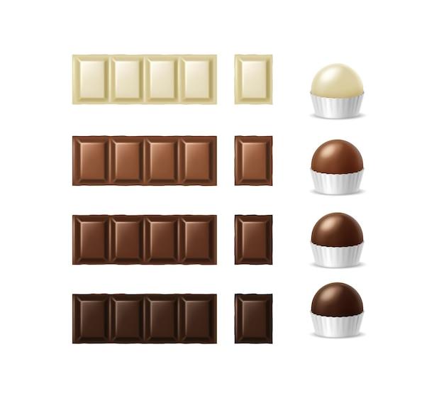 Set van verschillende soorten chocoladerepen en muffins tekenfilms
