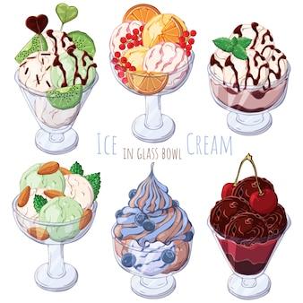 Set van verschillende soorten consumptie-ijs in kommen