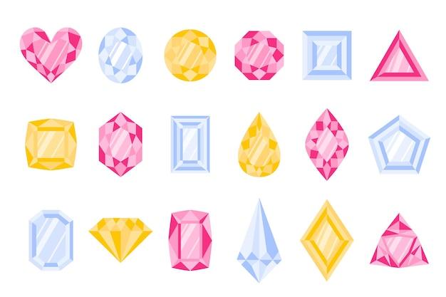 Set van verschillende soorten en kleuren edelstenen of edelstenen. Premium Vector