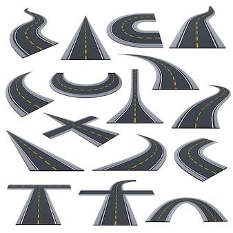 Set van verschillende soorten geasfalteerde wegen, track, snelwegen, autowegen met bochten, beklimmingen, bochten.