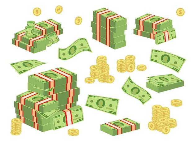 Set van verschillende soorten geld.