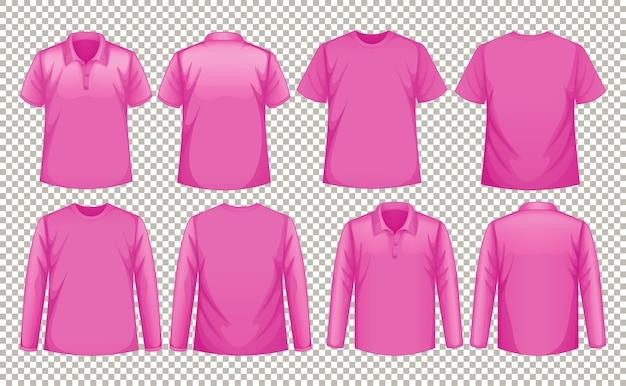 Set van verschillende soorten roze shirts