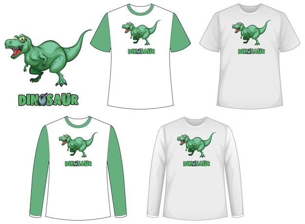 Set van verschillende soorten shirt in dinosaurusthema met dinosaurus